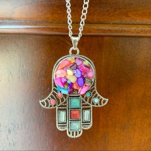 Jewelry - Bling large hamsa hand pendant boho Necklace